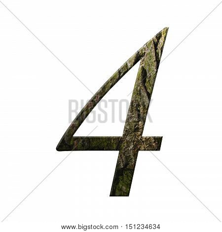 Wooden Digit One Symbol - 4. Isolated On White Background
