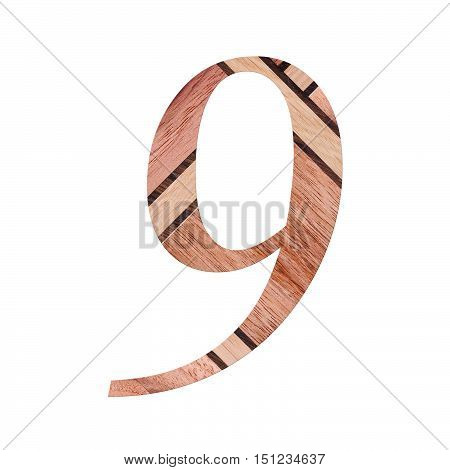 Wooden Digit One Symbol - 9. Isolated On White Background