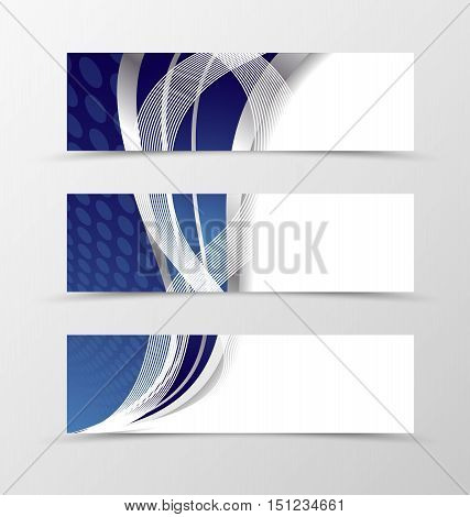 Set of banner blue design with circle. Blue banner for header with silver waves. Design of banner in blue and silver wave style