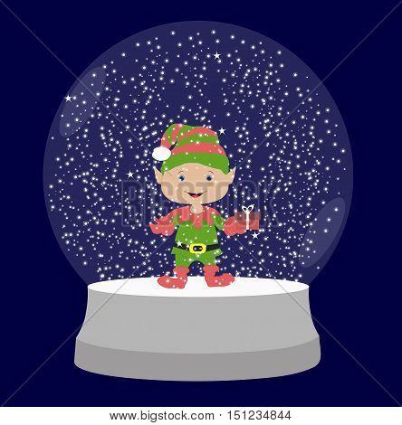 transparent snow globe with an elf inside