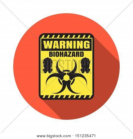 Biohazard - vector isolated icon with shadow on the red background.