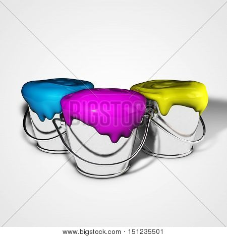 Paint buckets with cyan magenta yellow paint isolated on white. CMYK icon. 3d illustration