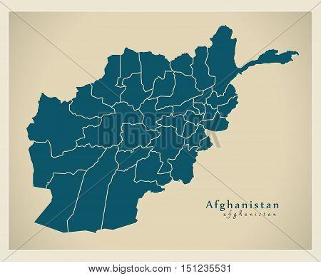 Modern Map Afghanistan with provinces AF vector high res