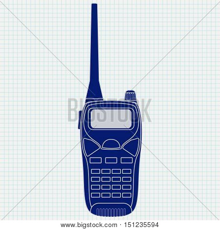 Radio transceiver icon. Vector illustration on notebook sheet background