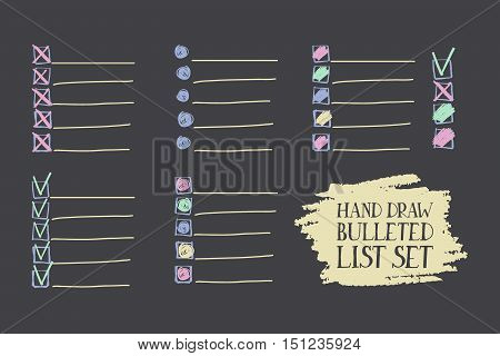 Set Of Insulated Bulleted Lists