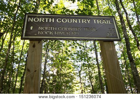On The North Country Trail. Mileage marker for the North Country Trail in the Upper Peninsula of Michigan