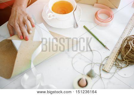 Gift Wrap Present Paper Cutter Handmade Concept
