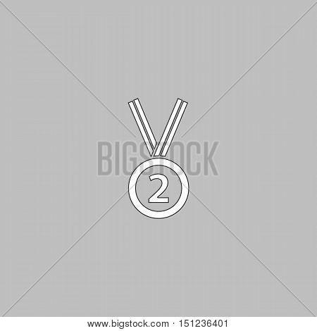 silver medal Simple line vector button. Thin line illustration icon. White outline symbol on grey background