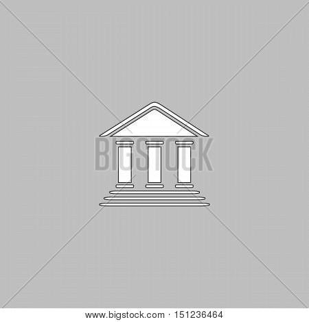 bank Simple line vector button. Thin line illustration icon. White outline symbol on grey background