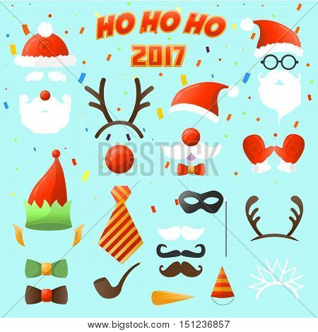 Set of Christmas party vector elements. ostume decoration mask and mustache, Santa Claus beard and hat elf, deer antlers and eyeglasses xmas and New Year sticker. Illustration isolated on white background