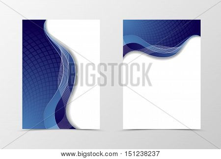 Grid flyer template design. Abstract flyer template in blue color with silver lines. Netting flyer design. Vector illustration