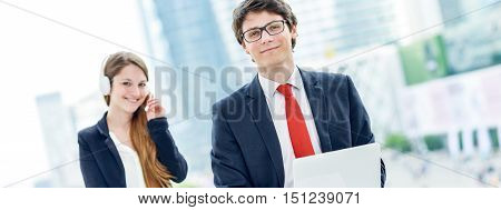 Business Junior People With Operator On Background