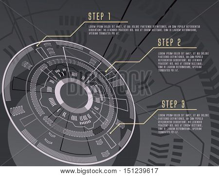 grayscale color techno gear background vector infographic design illustration