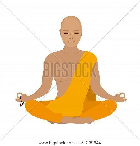 Tibetan monk in an orange robe. Novice yoga. Buddhist in lotus position.Isolated on white background. Vector illustration