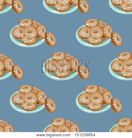 Illustration For The Book. Seamless Pattern. A Plate Of Donuts. Donuts In Powdered Sugar.