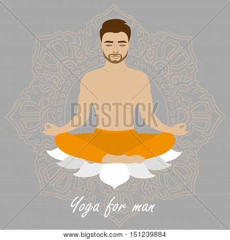 Lotus position man yoga. Mustached bearded male. Relaxation and meditation. Vector illustration