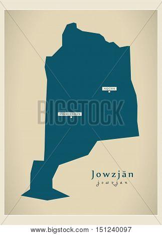Modern Map Jowzjan Afghanistan AF vector high res