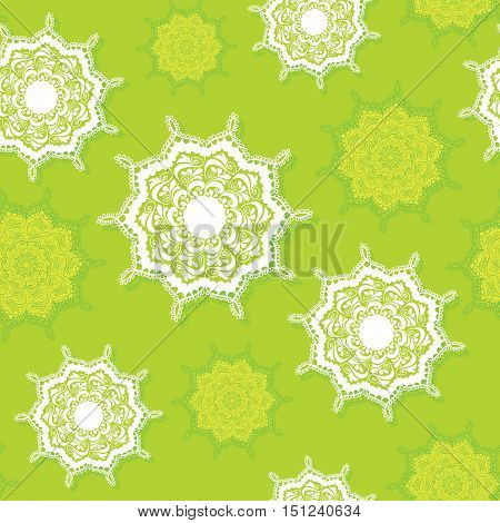 seamless pattern of bright yellow and green color with a repeating circular ornament beautiful embroidery