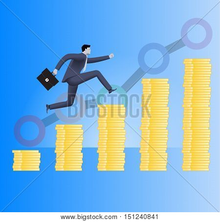 On the way to success business concept. Confident businessman in business suit with case in his hand runs up the piles of gold coins. Concept of success investment profitable business.