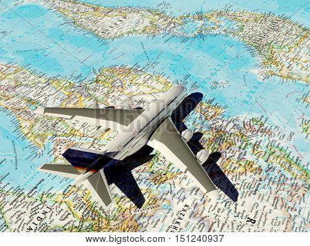 Model passenger aircraft on the world map.,3d render