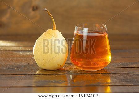 Delicious Fresh Squeezed Pear Juice In  Transparent Glass