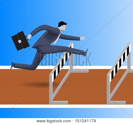 Over the obstacles business concept. Confident businessman in business suit with case jumps over the obstacles on his way to success.