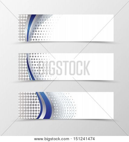 Set of banner design. Banner for header. Design of banner in silver style. Silver banner with blue wave design