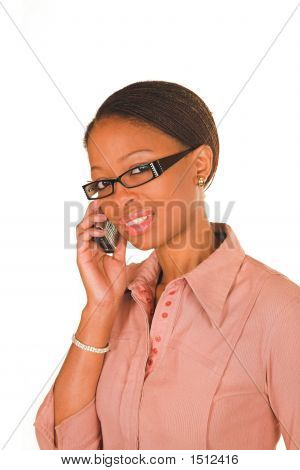 Professional Young Black South African Lady Business Woman Talking On Cellphone Wearing Glasses.