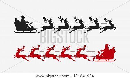 Santa sleigh reindeer silhouette. Christmas symbol. vector illustration