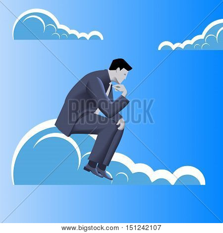 Strategy planning business concept. Pensive businessman in business suit sitting on the cloud and plans strategy of his business development.