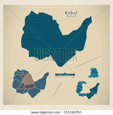 Modern Map Kabul Afghanistan AF vector high res