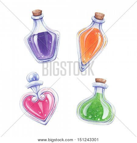 Love potion and elixir hand drawn watercolor illustration.
