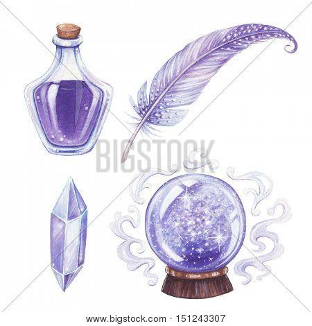 Halloween hand-drawn illustration. Magic elements set.