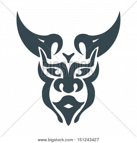 abstract bull man head viking shaman mystic symbol vector design