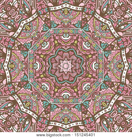 Abstract ethnic indian floral grunge vector ethnic tribal pattern