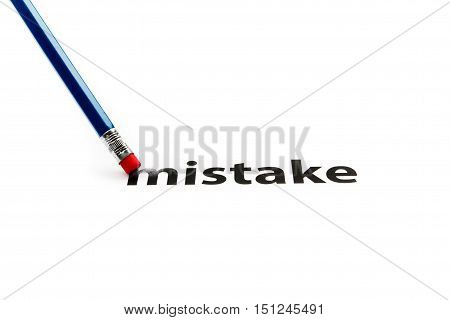 A pencil with eraser is correcting a mistake. Eraser and a mistake concept. To erase a mistake.
