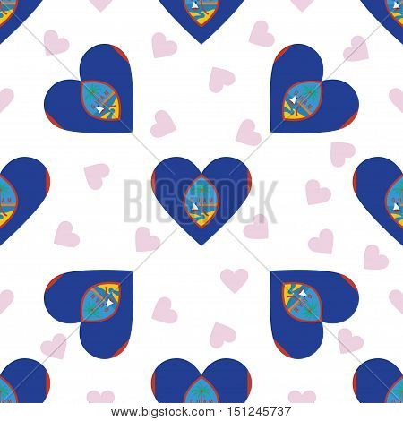 Guam Independence Day Seamless Pattern. Patriotic Background With Country National Flag In The Shape