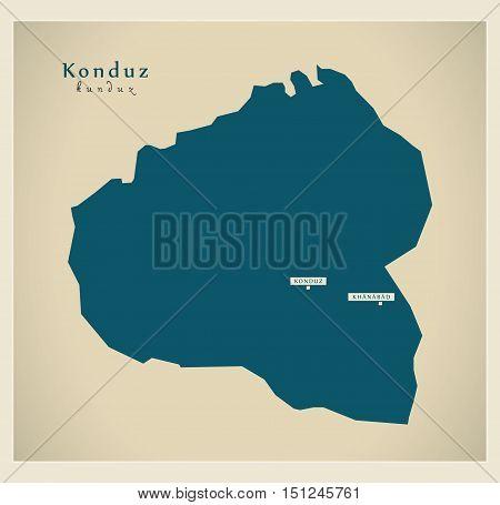 Modern Map Konduz Afghanistan AF vector high res