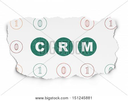 Finance concept: Painted green text CRM on Torn Paper background with Scheme Of Binary Code