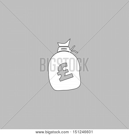 Pound GBP bag Simple line vector button. Thin line illustration icon. White outline symbol on grey background