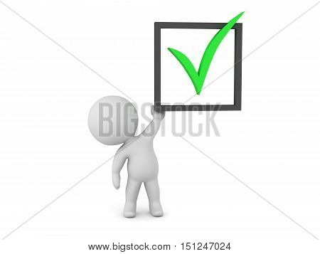 3D character holding up a large done symbol. Isolated on white background.
