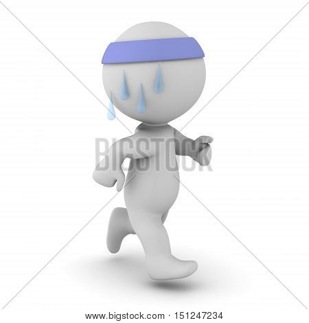 3D character is jogging and sweating. Isolated on white background.
