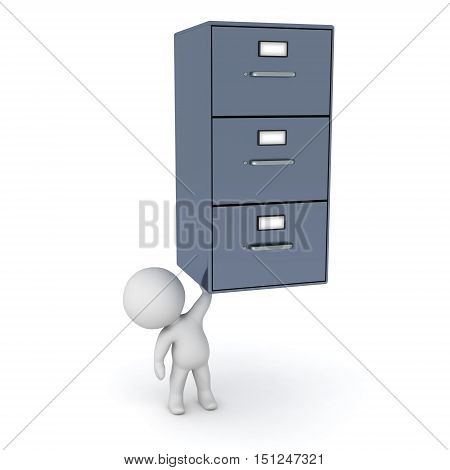 Small 3D character holding up a metal archiving cabinet with three drawers. Isolated on white background.