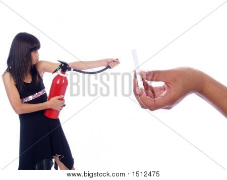 Young Girl Killing Cigarette With Fire Extinguisher