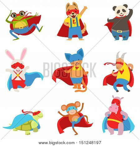 Animals Dressed As Superheroes With Capes And Masks Set. Childish Flat Comic Characters Isolated On White Background.
