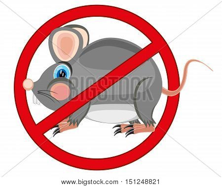 Red sign forbid bad rodent of the rats and mouses