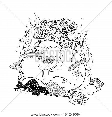 Graphic aquarium fish with broken jar drawn in line art style. Under water scenery isolated on the white background. Coloring book page design for adults and kids.