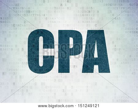 Business concept: Painted blue word CPA on Digital Data Paper background
