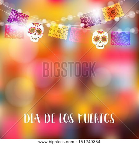 Dia de Los Muertos Day of the Dead or Halloween card invitation. Party decoration string of lights party flags with skulls. Vector illustration background