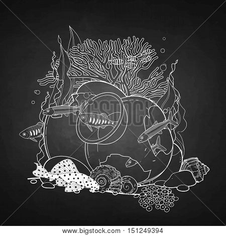 Graphic aquarium fish with broken jar drawn in line art style. Under water scenery isolated on the chalkboard.